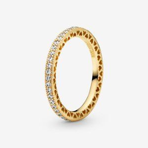 😋Pandora  Sparkle & Hearts Ring